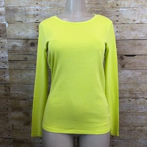 J Crew Perfect Fit Long Sleeve Neon Yellow Large